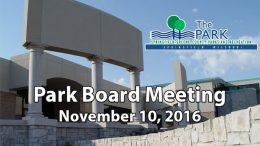 Park Board – November 10, 2016